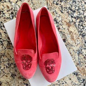 Alexander McQueen Hot Pink Suede Skull Flat size38